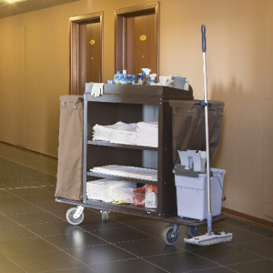 Cleaners trolley on empty floor of hotel_edited